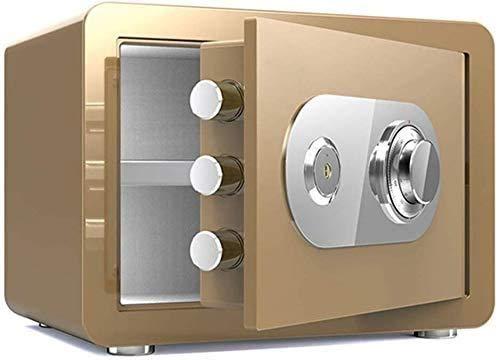 Cajas Fuertes Impermeables para el hogar Contraseña electrónica Caja Fuerte para el hogar Armario para Llaves Doble a Prueba de Fuego 35 25 25cm Caja Fuerte (Color: Dorado)