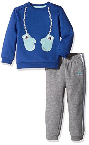 adidas Kinder Style Fun Jogginganzug, Top:Blue/Ice Green Bottom:Medium Grey Heather/White/Ice Green, 104