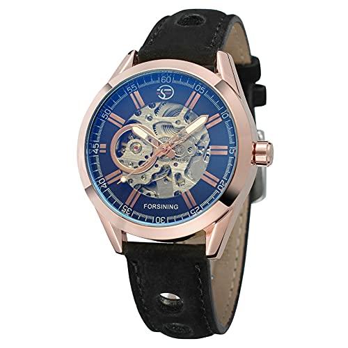 Excellent Reloj automático para Hombres, skeletón para Hombre Reloj de Pulsera mecánico a Prueba de Agua a Prueba de Agua para Hombre,A05