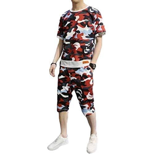 Miwaimao Camouflage T-Shirt Shorts Tuta Moda Uomo Abbigliamento Sportivo + 2 Pollici Estivi Spiaggia Abiti Uomo Casual Abbigliamento Sportivo Tuta 4XL T-Shirt Rosso XXXL