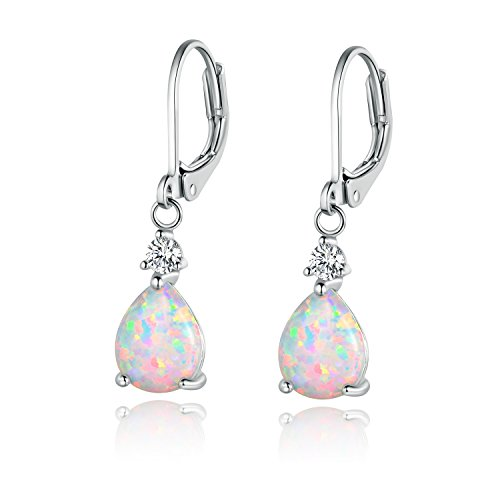 Earrings Women Dangle Opal Leverback Earring Drop White Gold Plated Fashion Jewellery Gifts
