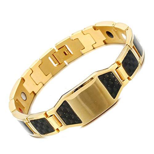 XIUWOUG Pulsera de titanio y acero para hombre, con grabado de fibra de carbono, para terapia de artritis, ajustable, color dorado