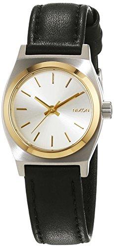 Nixon Damen-Armbanduhr Small Time Teller Silver/Gold/Black Analog Quarz Leder A5091884-00