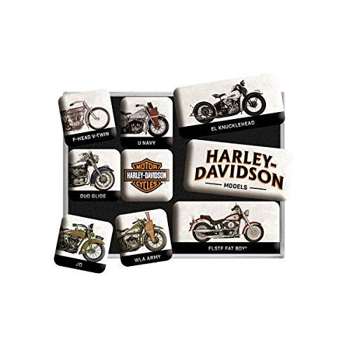 Nostalgic-Art, Juego de Imanes Retro , Harley Davidson Model – Regalo para Motociclistas, Decoración para la Nevera, Diseño Vintage, 9 Unidades