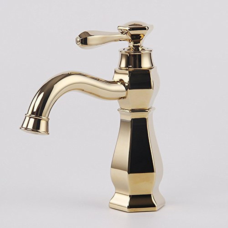 Bijjaladeva Wasserhahn Bad Wasserfall Mischbatterie Waschbecken Waschtisch Armatur für BadezimmerAntike Einfach Voll Kupfer heie und Kalte Waschbecken Mischbatterie Zirkon Gold