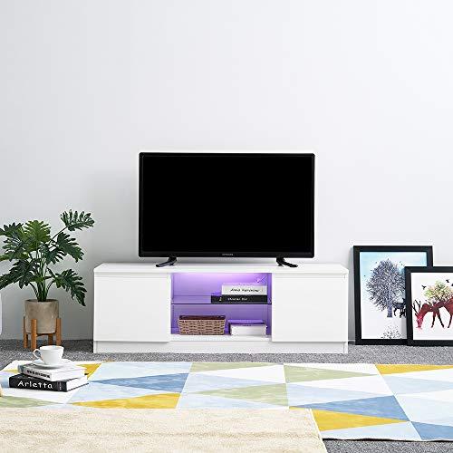 LED Meuble TV en MDF Verre avec 2 Compartiments de Stockage sur Salle de Séjour, Salon et Chambre à Coucher etc, 120 x 39 x 40 cm, Blanc