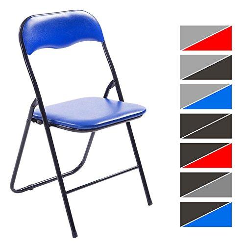 CLP Klappstuhl Küchenstuhl Felix, Metallgestell, Kunststoff-Sitz gepolstert blau/schwarz