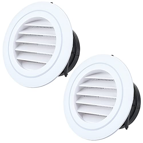 Livtor 4 Inches Soffit Vent Grille Covers Round Louvered with Built-in Screen for Bathroom Kitchen Office(2 Packs)
