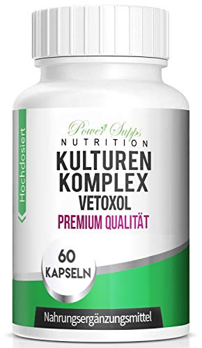 PowerSupps Vetoxol Kapseln - Probiotika für Magen Darm - FLOHSAMENSCHALEN Kulturen Komplex, REINIGUNG 60 magensaftresistente Kapseln - Lactobacillus Acidophilus - DARMSANIERUNG