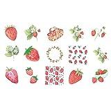 Ruluti Washi Sticker Set Fraise Scrapbooking Décoration Stickers Pour Ordinateur Portable Valise Journal Notebook Photo Album 45pcs