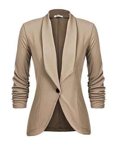 Unibelle Damen Blazer Cardigan Dünn 3/4 Längere Elegant Leicht Bolero Jacke Blazer Slim Fit Anzug Trenchcoat , Aa-khaki-1, 36(Herstellergröße:S)