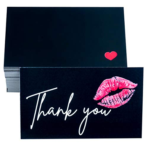 RXBC2011 Thank You Cards red lips Sweet Kiss Package Insert for online business Pack of 100 black
