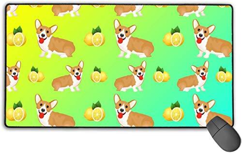 Schreibtischunterlage, groß, wasserdicht, Welsh Corgi, Hund Welpe und Zitrone, multifunktional, Schreibunterlage, Laptop-Tastatur, Mauspad für Büro/Zuhause (39,9 x 73,9 cm)