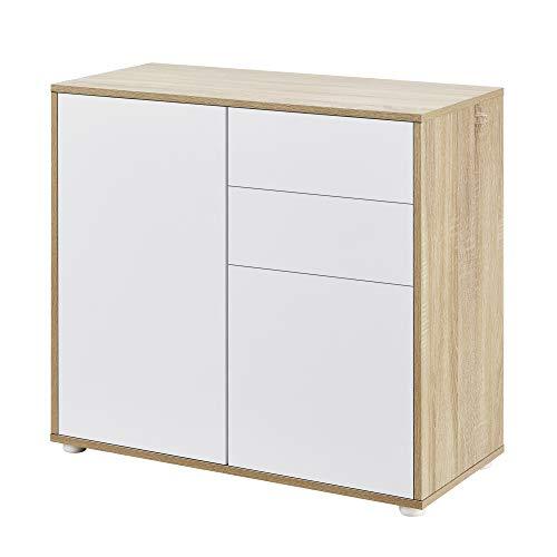 [en.casa] Cómoda Armario 74 x 79 x 36 cm con 2 Cajones y 2 Puertas Organizador de Oficina Sideboard Cajonera Multiusos Mueble Auxiliar Sin Mango Blanco y Efecto Roble