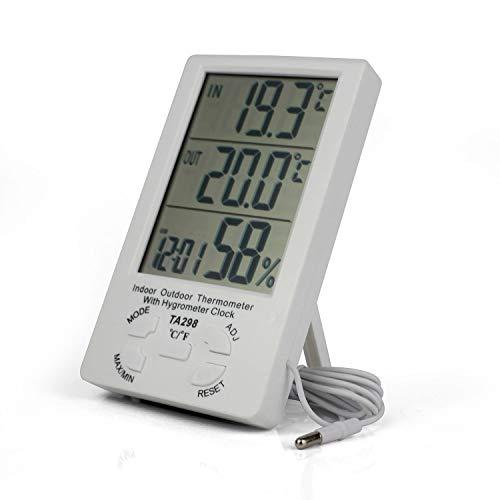 Ytian Digitale LCD binnen/buitenthermometer hygrometer klok met min/max waarde 1,5 m sensorkabel
