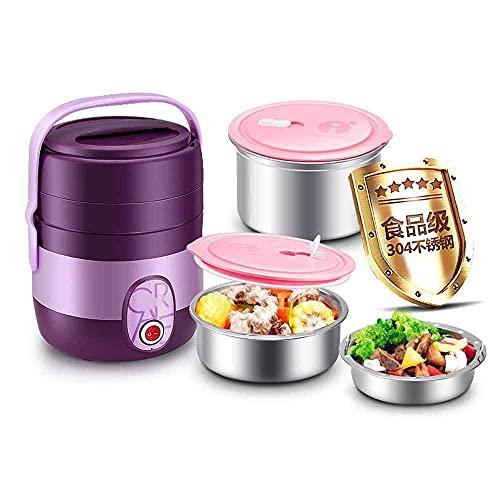 Caja de almuerzo eléctrica portátil multifunción para cocina de arroz, caja de almuerzo eléctrica calentador de alimentos 2L con material de comida extraíble