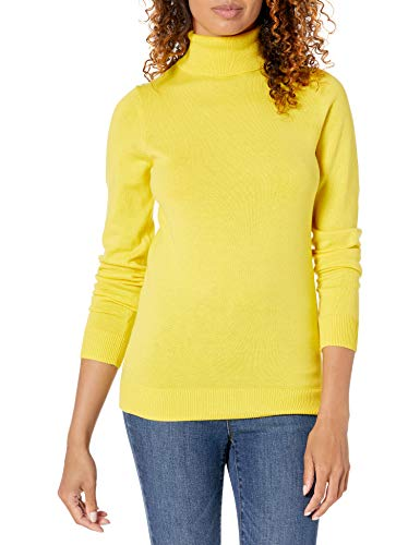 Amazon Essentials Women's Classic Fit Lightweight Long-Sleeve Turtleneck Sweater, Bright Yellow, Large