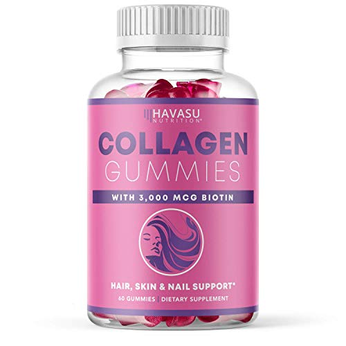 Havasu Nutrition Collagen Gummies Formulated with Collagen & Biotin to Support Hair, Skin, and Nail Growth for Men & Women - Gelatin-Free, 60 Gummies