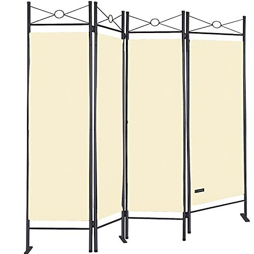 Deuba Paravent Lucca 180x163 cm Raumteiler Verstellbar 4 TLG Trennwand Spanische Wand Raumtrenner Sichtschutz - Creme