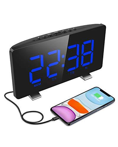 ELEGIANT Radiowecker, Digital Wecker Tischuhr mit großem LED-Display, automatischem Dimmer, 4 Stufen Helligkeiten, FM Radio, Sleep-Timer, Dual-Alarme, Schlummer, USB-Ladeanschluss, Backup Batterie