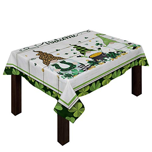 Yun Nist Cotton Linen Table Cloths Saint Patrick's Day Celtic Clovers Leaves, Spillproof Tables Cover for Kitchen Dining Banquet Party Decor Dwarf with Horseshoe