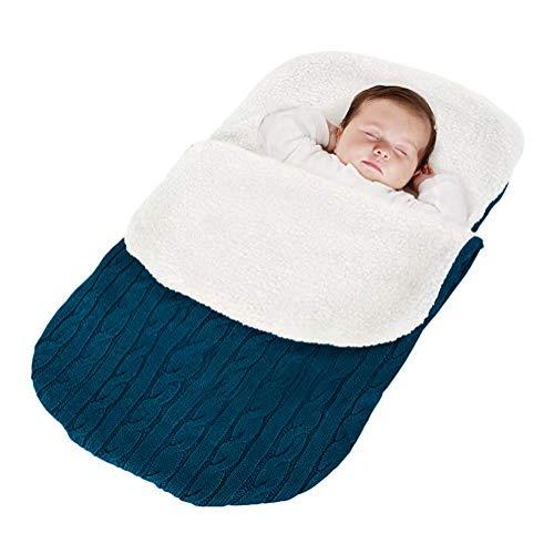 Minetom Kinderwagen Baby Schlafsack Stricken Winter Buggy Babyschale Winterfußsack Weich Warmes Plüsch Draussen Fußsack Babydecke Footmuff Blau 38 * 68 cm