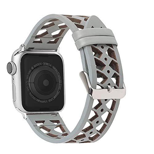 Mantimes Leather band Compatible with Apple Watch Band 42mm 44mm for iWatch Series 6 5 4 3 2 1, Hollow-Carved Design Breathable Leather Strap for Women Girls Gray (Gray,42mm/44mm)