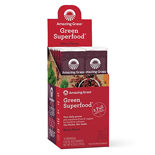 Amazing Grass Green Superfood: Super Greens Powder with Spirulina, Chlorella, Digestive Enzymes & Probiotics, Berry, 15 Servings