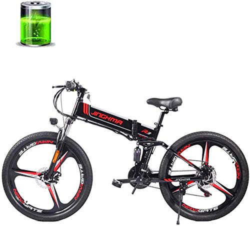 min min Bike,26-Inch Electric Mountain Bike, 48V350W Motor, 12.8AH Lithium Battery, Dual Disc Brakes/Full Suspension Soft Tail Bike, 21-Speed/LED Headlights, Adult/Youth Off-Road