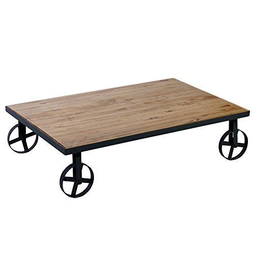 Indhouse Plat – Table Basse Loft Décoration Style Industriel Fer Bois Massif London