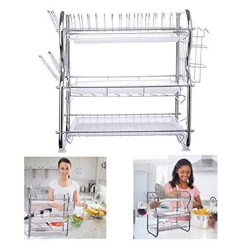 【US In Stock】Layers 3-Tier Dish Drying Rack Kitchen Collection Shelf Drainer Organizer US Stock Dish Rack Tableware Cutlery Improvement Kitchen Accessories