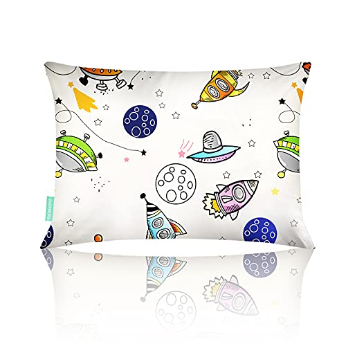 VHOPMORE Toddler Pillow with Pillowcase, Kids Flat Pillow for Sleeping - 12X18 Soft Hypoallergenic Organic Cotton, Machine Washable, Small Travel Pillow for Baby Cribs, Toddler Cot, Bed