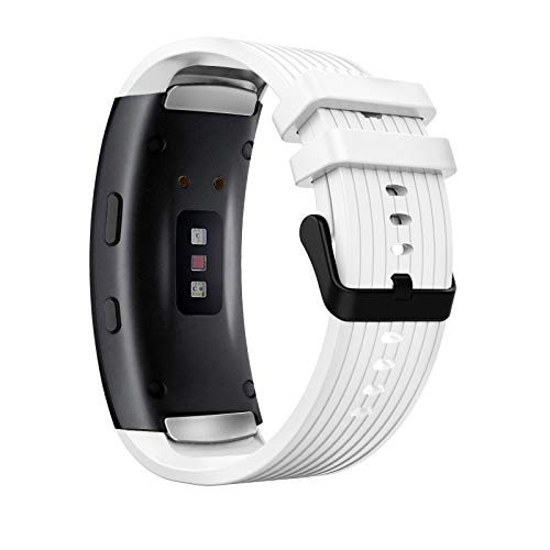 MoKo Correa de Reloj Deportiva Compatible con Samsung Gear Fit 2/Fit 2 Pro, Banda Ajustable con Rayas de Silicona para Samsung Gear Fit 2/Fit 2 Pro, Blanco