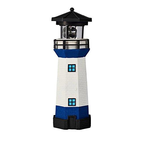 Unbekannt Solar-Leuchtturm Maritim, Deko-Leuchtturm mit LED-Licht, Solarlampe Solarleuchte, Gartendeko, Kunststoff, Ø 8 cm x 28 cm