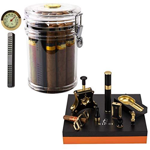 XIFEI Acrylic Humidor Jar and Cigar Cutter Set 8 Piece Cigar Punch & Ashtray & Cigar Tube & Cigar Lighter& Cigar Stand Luxury Accessories Cigar Smoking Gift Set