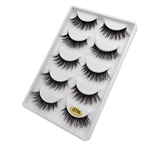 Qinshi 5 Paare 3D Falsche Wimpern, Künstliche Wimpern Set,Wimpern Dick Lange, natürliche Wimpern, Wiederverwendbare Kunstfaser Wimpern Langlebige Flauschige