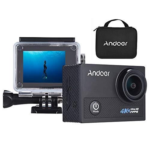 Andoer AN5000 4K 24fps WiFi Sports Action Camera 20MP 1080P 60fps giroscopio Anti-Shake Supporto 5X Zoom 2 Schermo LCD 30m Impermeabile