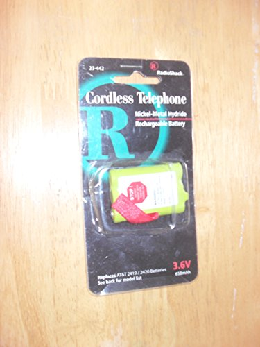 Radio Shack Cordless Telephone Battery #23-442 (Replaces AT&T 2419/2420 Batteries)