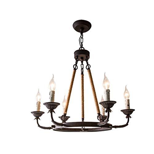 Smeedijzeren hennep uit retro industrie eenvoudige Coffee Shop lamp kaars [energieklasse A ++] (kleur: wit licht, grootte: 5460cm)