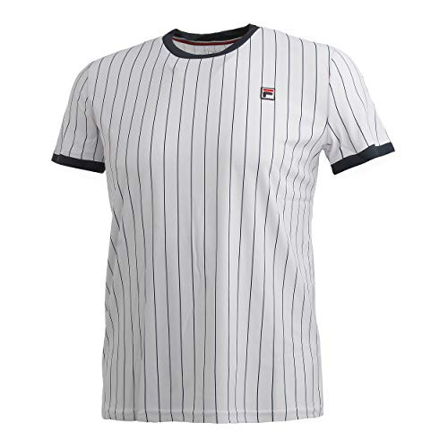 Fila Herren, Stripes T-Shirt Weiß, Dunkelblau, M Oberbekleidung, M