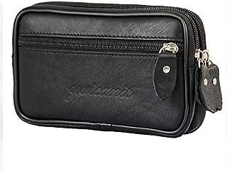 Vintage Leather Waist Belt Loops Bag for Men Waterproof Wallet Phone Pouch Purse Coin Pocket Cigarette Case Handbag Bum Fanny Pack with Zipper Pockets