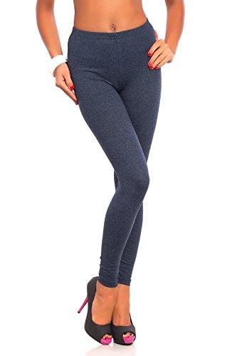 FUTURO FASHION - Damen Leggings aus Baumwolle - knöchellang - weich - Übergrößen - Denim - 44 Klassische Bundhöhe