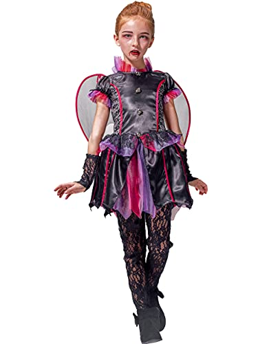 Girls Vampire Costume Outfit, Gothic Princess Robe/Victorian Queen Fancy Dress Up, bloodsucker Velour gown for Halloween Party