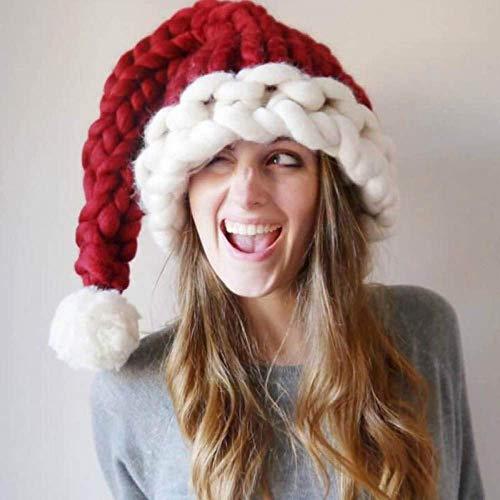 FFCVTDXIA Sombreros de Navidad, Novedad Rojo Sombrero de Navidad Hecho A Mano Hecho A Mano Grueso Cola Larga Tapeo Tapa De Peluche Caliente Suave zhihao