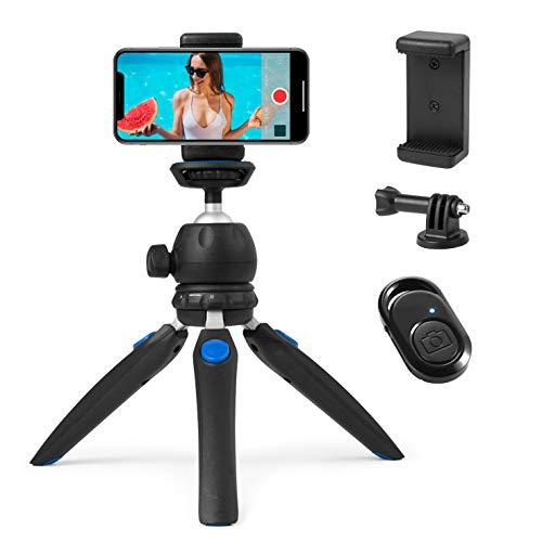 HITSLAM Tripod, Smartphone Stativ, Mini Stativ für iPhone/Samsung Galaxy/Huawei Handy, Kleine Kamera und GoPro mit Bluetooth-Fernbedienung, Telefon-Mount und GoPro Adapter
