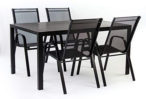 AVANTI TRENDSTORE - Badia - Set da Giardino Composto da 1 Tavolo in Metallo e polywood, con 4 sedie impilabili in Metallo e Rete di plastica Sintetica (Tavolo Grande)
