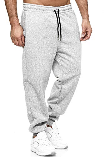Tazzio Jogginghose Slim Fit Herren Sporthose Fitness Freizeit Hose Trainingshose Sweat Sweatpants Jogger | 16600 (Grau, Medium)