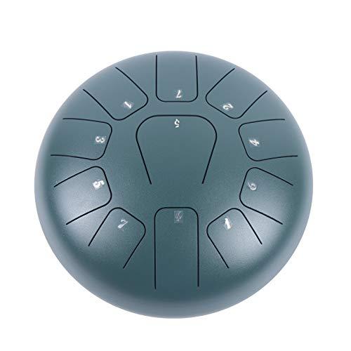 Tambor de mano de acero de 25,4 cm, 11 tonos, instrumento de percusión, verde para meditación personal, yoga zen