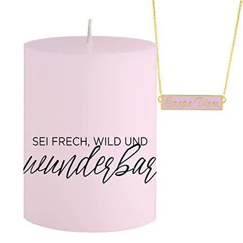 SCHMUCK Kerze und mit Botschaft Sei frech, wild und wunderbar - Versteckte rosa goldende Halskette mit Anhänger Carpe Diem -DUFTKERZE- Blaubeere DUFT - Einzigartiges Geschenk Idee