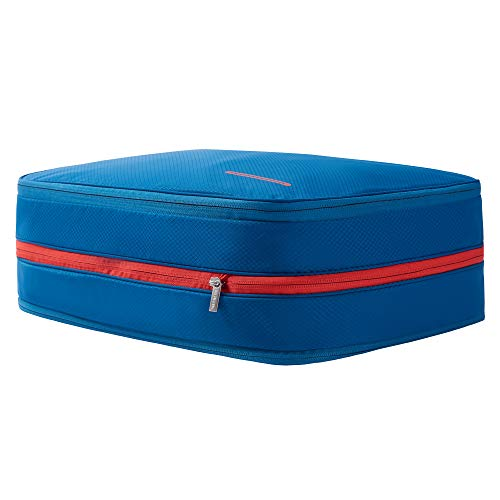BeeNesting 2 Layers Large Compression Packing Cubes for travel carry on Compressable Packing Bags for clothes (26L, Blue red)